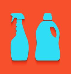 Household chemical bottles sign whitish vector