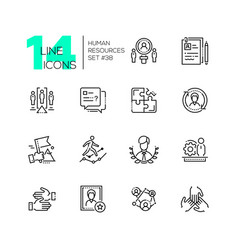 Human resources - set of line design style icons vector