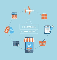 Infographic concept of purchasing via internet vector image