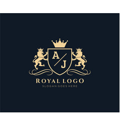 Initial aj letter lion royal luxury heraldiccrest vector