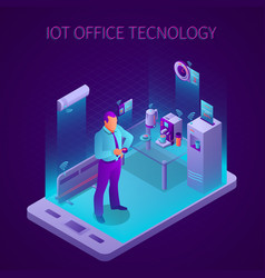 iot business office isometric composition vector image