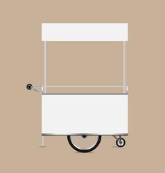 Kiosk white template blank kiosk wheels cart vector