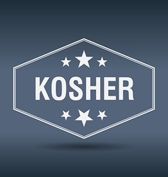 Kosher hexagonal white vintage retro style label vector