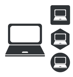 Laptop icon set monochrome vector image