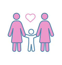 lesbian family color icon vector image