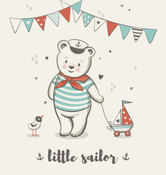 little sailor cute bear posters vector image