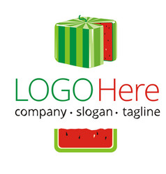 logotype with cube watermelon vector image