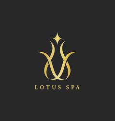 Lotus spa design logo vector