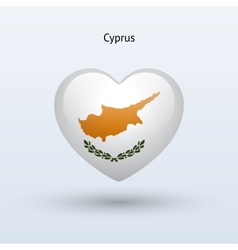 Love Cyprus symbol Heart flag icon vector image