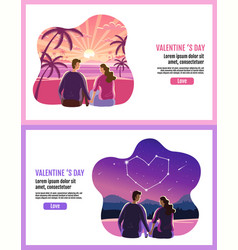 lovely couple valentines day star sky sun vector image