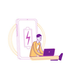 Male character working on laptop sitting at huge vector