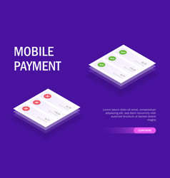 Mobile payment concept mobile ui pop-up vector