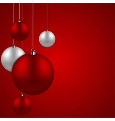modern red christmas balls background vector image