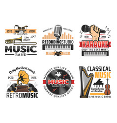 Music record studio and orchestra band retro icons vector
