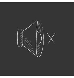 Mute speaker Drawn in chalk icon vector