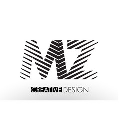 Mz m z lines letter design with creative elegant vector