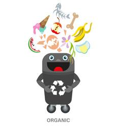 organic waste black bin waste sorting and vector image
