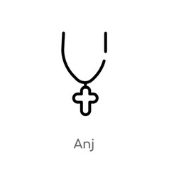 Outline anj icon isolated black simple line vector