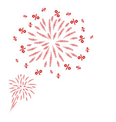Percent fireworks design on white background vector