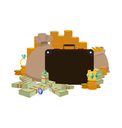pile money briefcase and bag full cash vector image