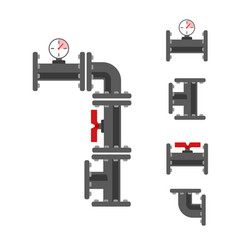 Pipe connector set vector