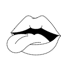pop art lips with tongue out vector image
