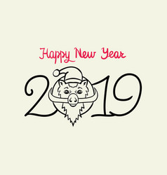 postcard for the new year of the wild boar vector image