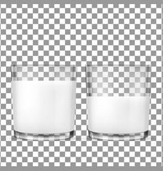 Realistic transparent glasses for milk vector