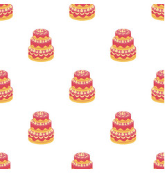 Red three-ply cake icon in cartoon style isolated vector