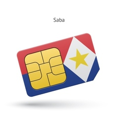 Saba mobile phone sim card with flag vector