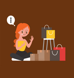 Sad woman sitting with her shopping bags vector
