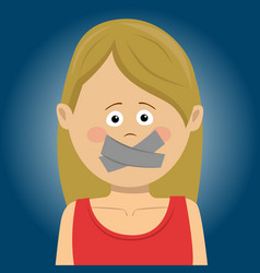 Scared young woman with tape over her mouth vector