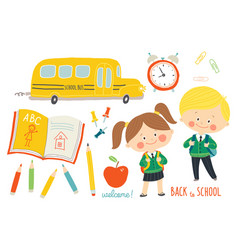 school set characters and objects children in vector image