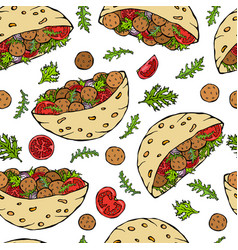 Seamless endless pattern with falafel pita or vector