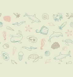 Seamless marine background vector