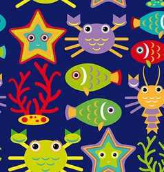 Seamless pattern with marine animals on a dark vector image