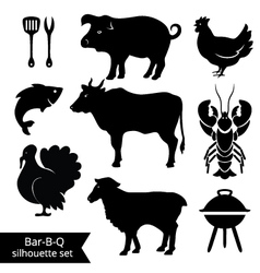set bbq silhouettes vector image