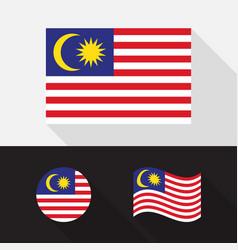 set malaysia flag flat design vector image