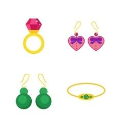 Set of cartoon jewelry accessories vector