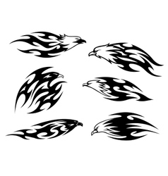 Set of stylized black and white flying eagles vector image