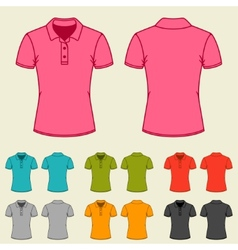 Set of templates colored polo shirts for women vector
