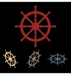 Ship wheel icon set vector image
