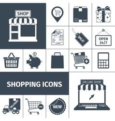 Shopping black white icons set vector