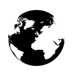 silhouette monochrome with map of the world vector image