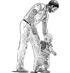 Sketch a father with his bagoing on a stroll vector