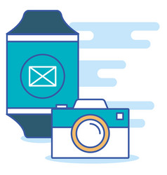 Smarthwatch with social media marketing vector