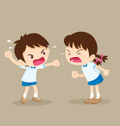 Student boy and girl are quarreling vector