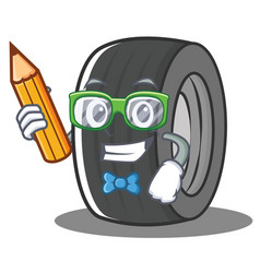 Student tire character cartoon style vector