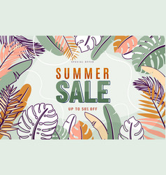 summer sale background with nature tropical vector image