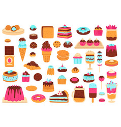 sweet desserts bakery sweets muffin cakes ice vector image